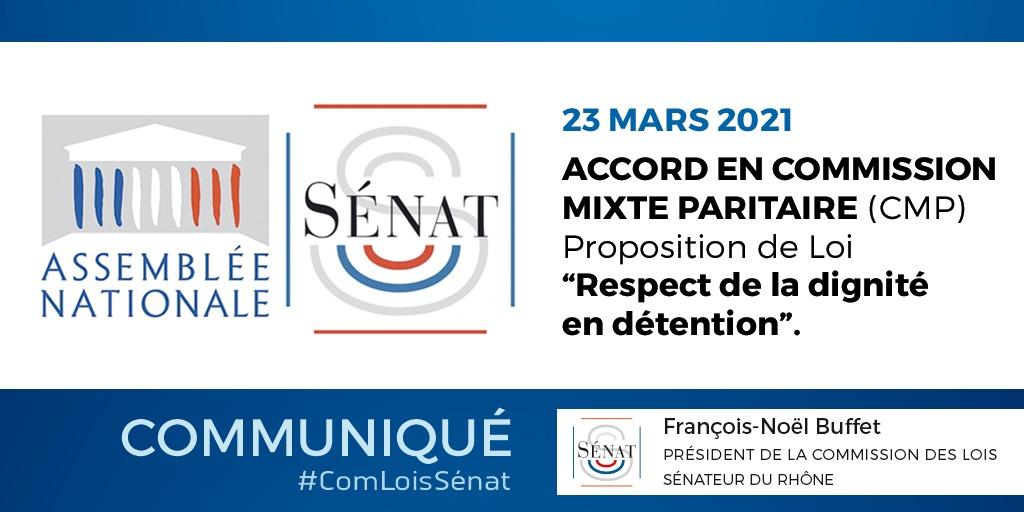 Accord en Commission Mixte Paritaire sur ma PPL tendant à garantir le droit au respect de la dignité en détention – 23/03/2021