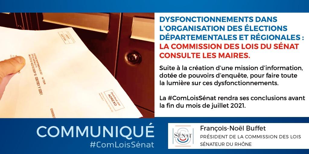29/06/2021 : Dysfonctionnements dans l'organisation des élections départementales et régionales : la commission des lois du Sénat consulte les maires