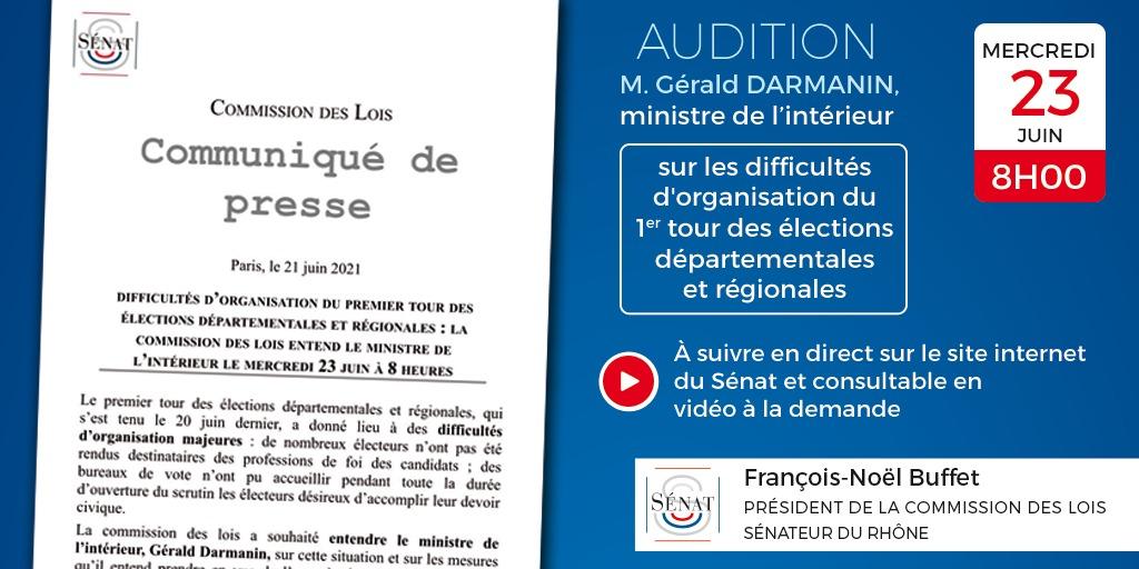 21/06/2021 : Difficultés d'organisation du premier tour des élections départementales et régionales : la commission des lois entend le ministre de l'intérieur le mercredi 23 juin à 8 heures