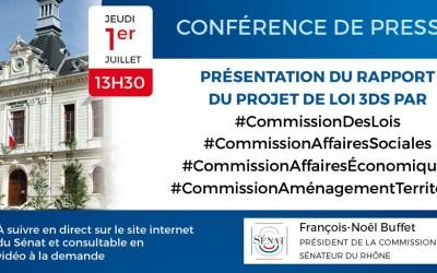 01/07/2021 : Conférence de presse sur le projet de loi relatif à la différenciation, la décentralisation, la déconcentration et portant diverses mesures de simplification de l'action publique local