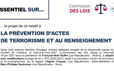 16/06/2021 : L'essentiel sur Le projet de loi relatif à la prévention d'actes de terrorisme et au renseignement
