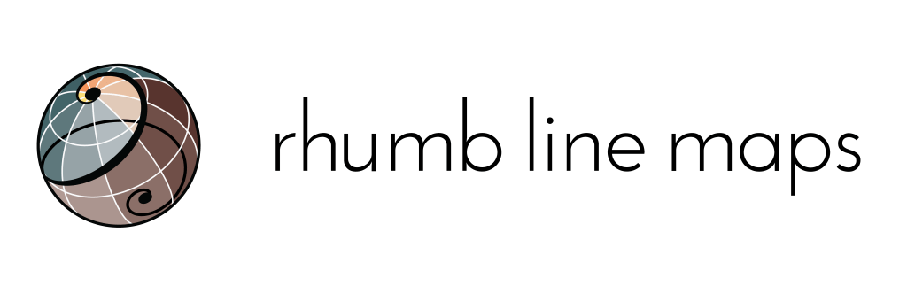 This is the logo for Rhumb Line Maps, a GIS and cartography consulting firm.