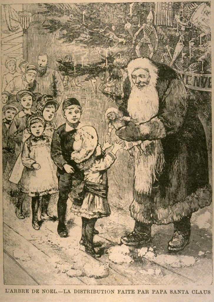 A periodical illustration from 1893 showing Santa Claus passing a doll to a young girl.  A line of children wait behind her for their turn.