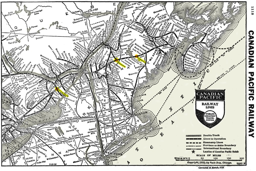 This is a map of the Canadian Pacific Railway Lines in 1938. It has specific locations (Brownville Junction, Megantic, and Smiths-Falls) highlighted for reference.