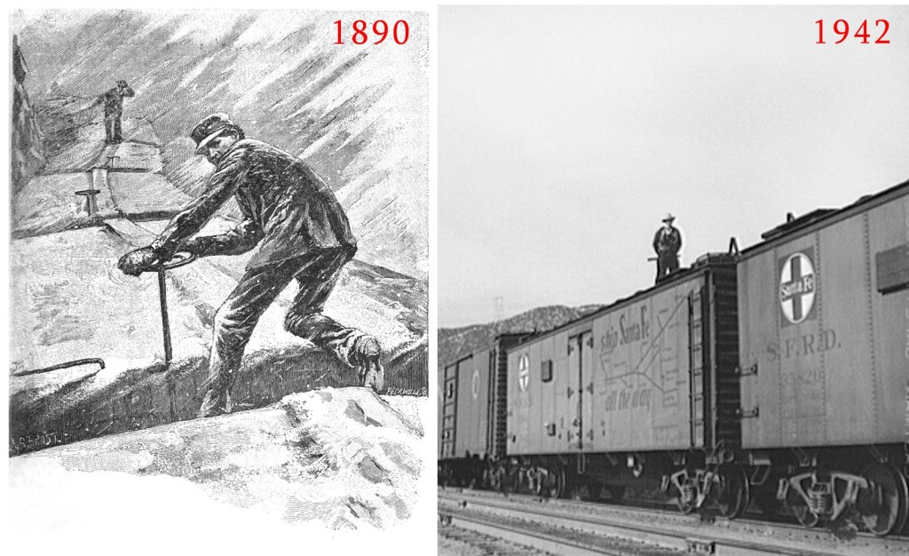 This is composed of two historical images. On the left is a drawing of a brakeman atop a rail-car in 1890, on the right is an historical photo of a brakeman atop a rail-car in 1942.