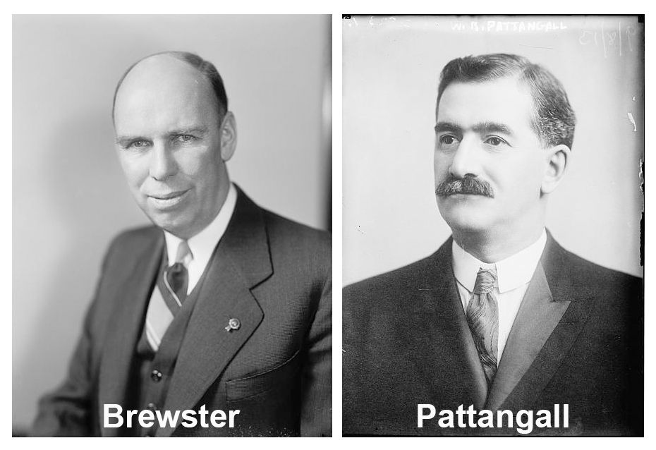 Side by side black and white photos.  Left photo is a portrait of Brewster and right a portrait of Pattangall
