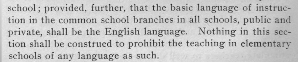 Laws of Maine Schools text stating that only English was allowed to be used.