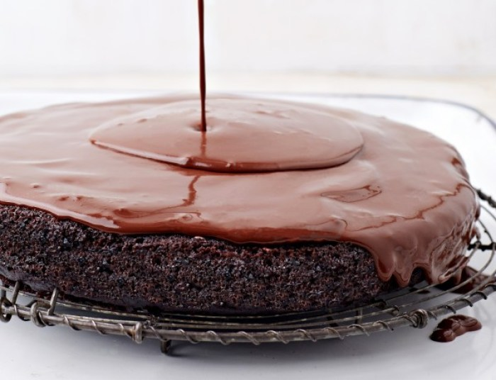Deep, dark, moist chocolate cake: Bittersweet Ganache Glazed Chocolate Torte to Live For from Vegan Chocolate by Fran Costigan