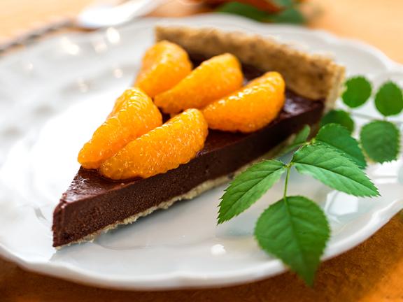 Raw Chocolate Fudge and Mandarin Orange Tart for National Pie Day