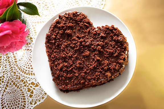 Heart-Shaped Vegan Chocolate Torte to Live for from Fran Costigan. Photo by Hannah Kaminsky