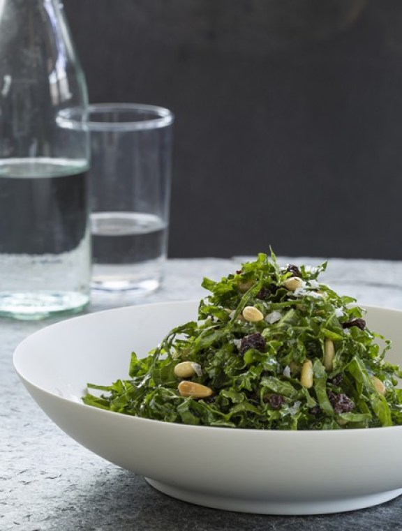 Kale Salad with Currants, Pine Nuts, and Lemon-Thyme Vinaigrette from Crossroads by Tal Ronnen