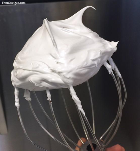 Aquafaba meringue on whisk