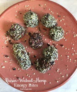Raw Raisin-Walnut-Hemp Energy Bites