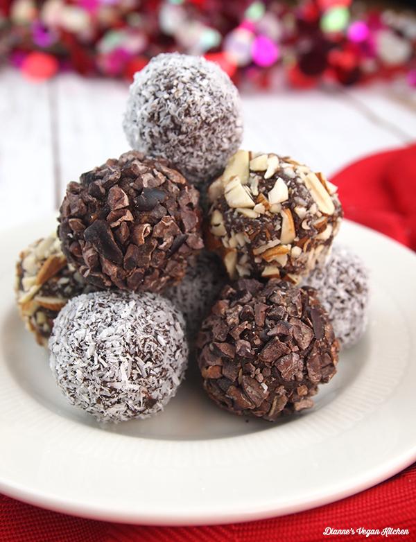 Dianne's Vegan Kitchen's Vegan Chocolate-Almond Date Truffles
