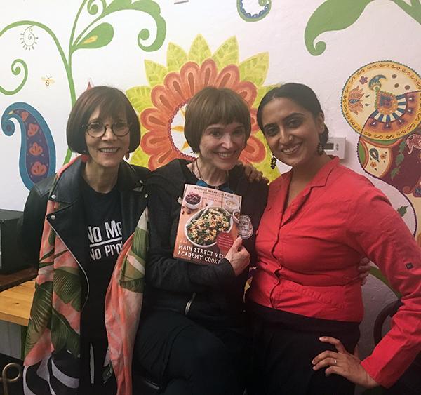 Fran with Victoria Moran and Sasha at 24 Carrots