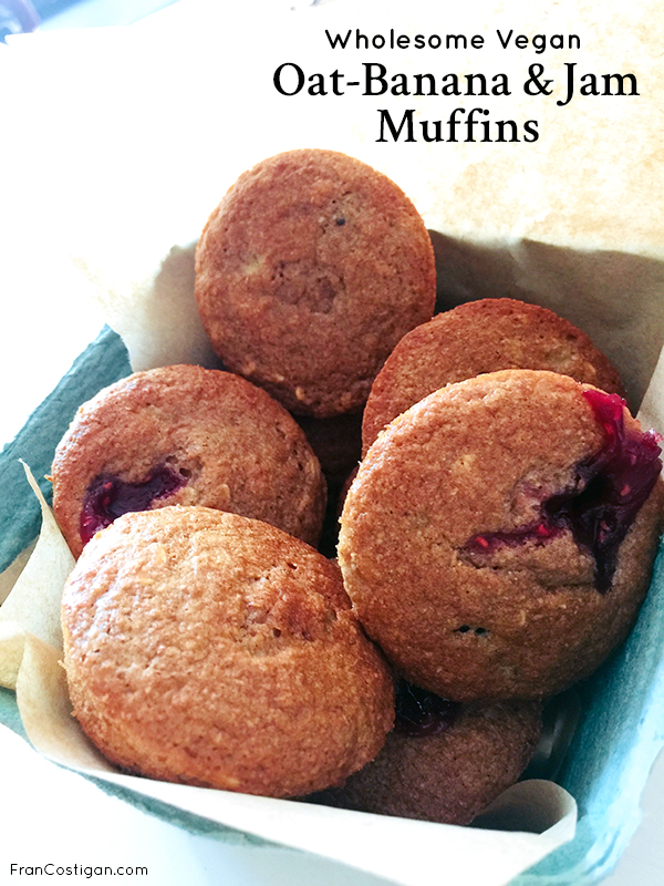 Fran Costigan's Wholesome Vegan Oat-Banana and Jam Muffins
