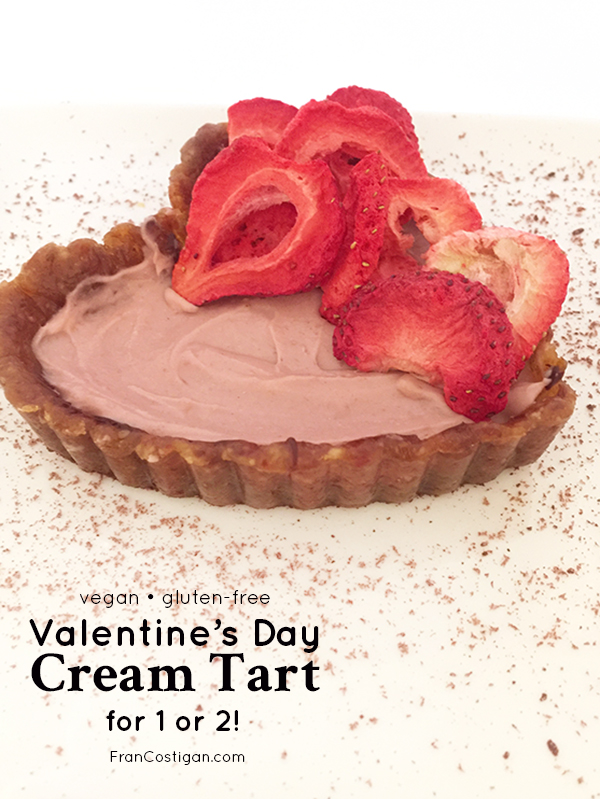 This easy-to-make vegan Valentine's Day cream tart comes together quickly, so it's a terrific last minute dessert for you and your sweetie – or just for you!