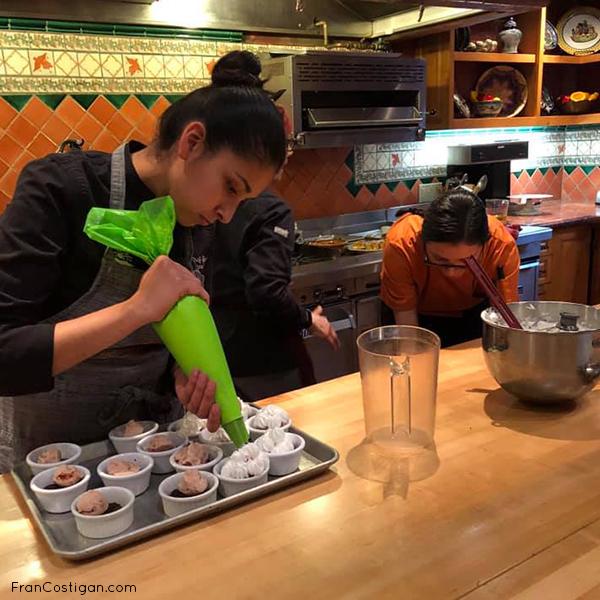 Piping aquafaba meringue for Brownie Based Baked Alaska NiceCream