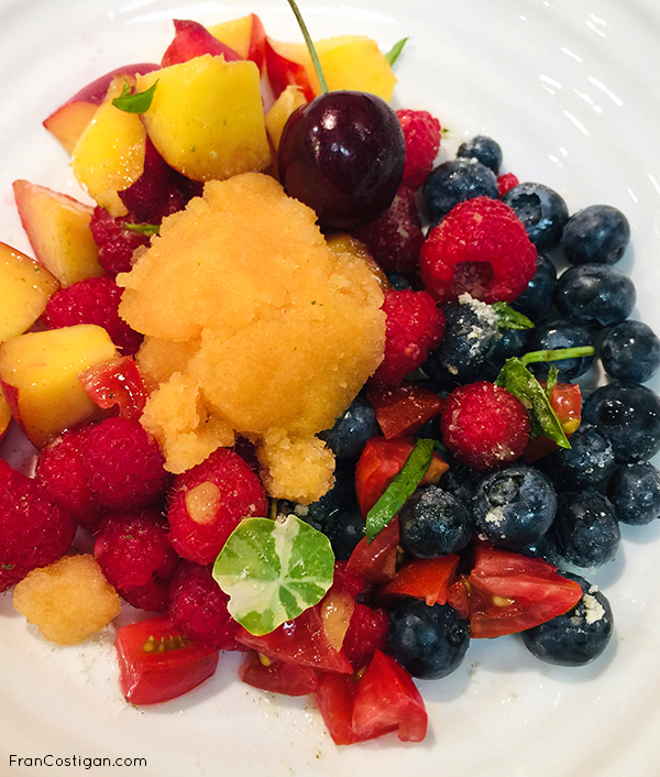 Fruit Salad with Cantalope Sorbet
