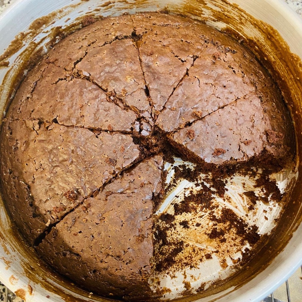 chocolate depression cake in pan