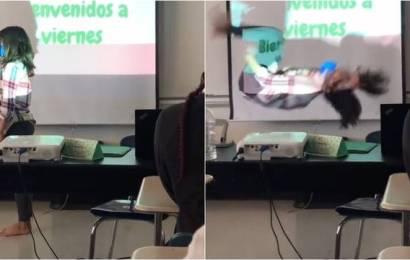 Maestra sorprende a sus alumnos con giro acrobático; se lleva los aplausos