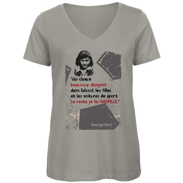 T-shirt citation George Best - Gris (col V)