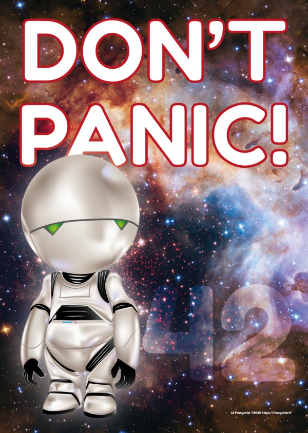 "Marvin, de H2G2, poster ""Don't Panic!"""