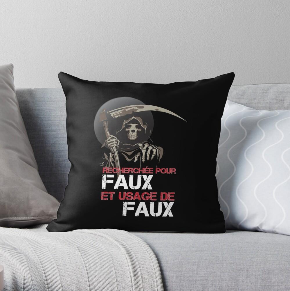 """Coussin """"Faux et usage de faux"""""""