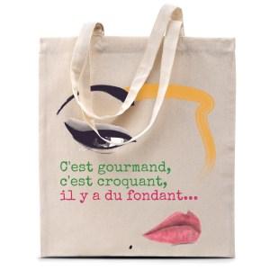 Tote bag «C'est gourmand, c'est croquant…» version glamour