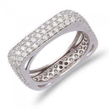 Позолоченное квадратное кольцо Medium с белым цирконом