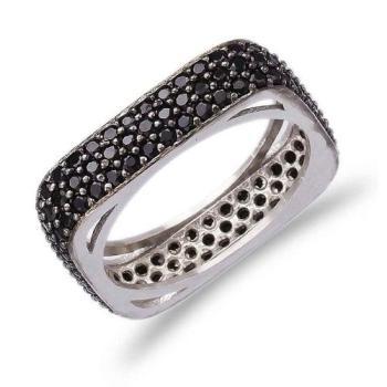 Позолоченное квадратное кольцо Medium с черным цирконом