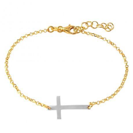 wholesale silver two tone cross bracelet852