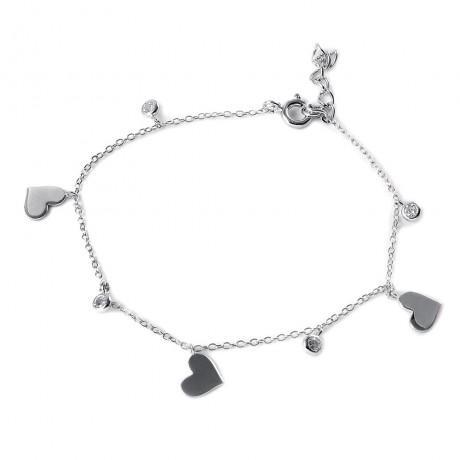wholesale silver cz hearts charmbracelet