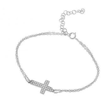 Браслет на цепочке с крестом из цирконов