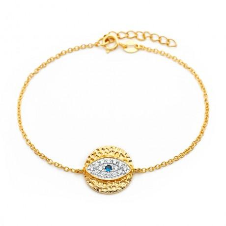 wholesale silver gold plated evil eye cz bracelet