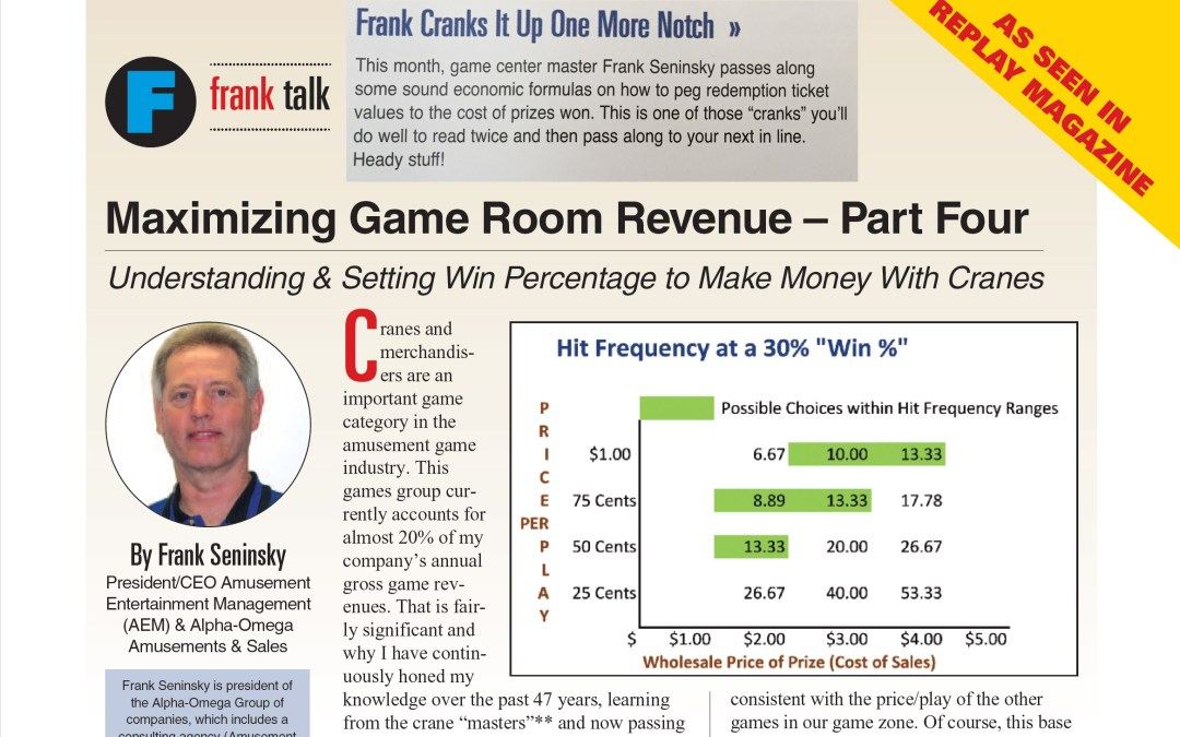 Maximizing Game Room Revenue – Part 4