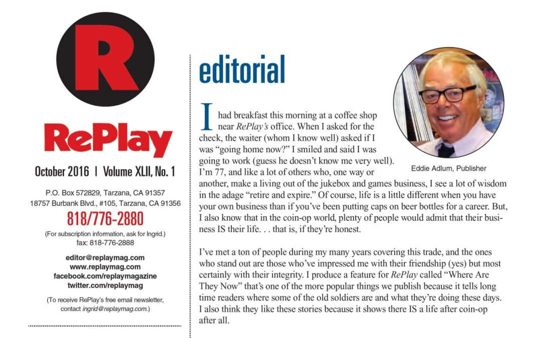 RePlay Magazine October 2016 Editorial Letter