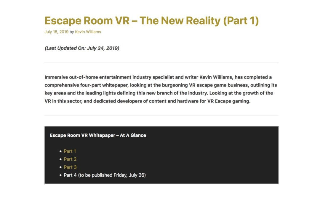 VR & Escape Rooms The New Reality – Kevin Williams has a 4-Part Whitepaper