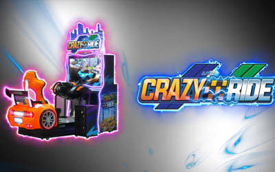Crazy Ride (UNIS) – 1st Sit Down Video Driving Ride-sharing theme game – most likely will be at IAAPA Expo in November