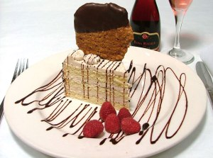 Chocolate cookie, vanilla cake, raspberry, blush wine