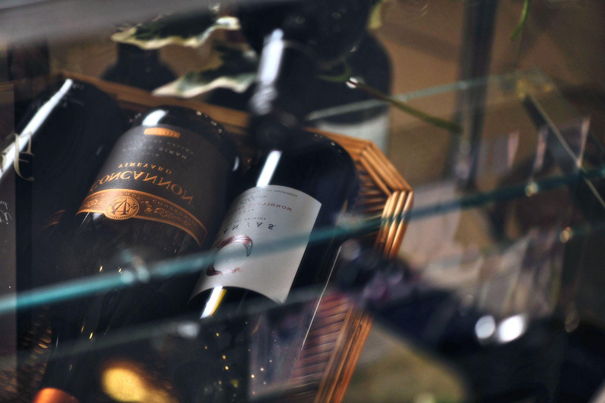 Wine in a glass case.