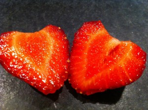 single strawberry ripe