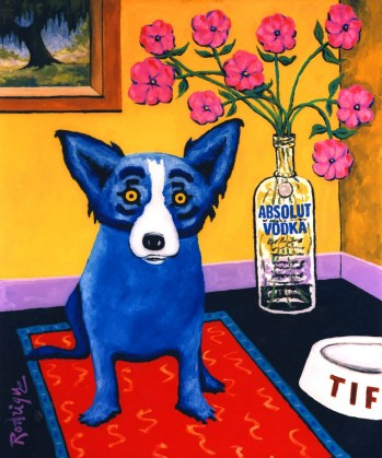 Absolut Rodrigue, 1993, one of many Blue Dog paintings created by George Rodrigue.
