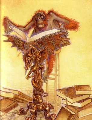 The Librarian of the Unseen University in Terry Pratchett's Discworld. (OOK! by Paul Kidby).