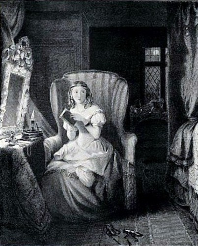 Illustration of a woman reading a Gothic novel, Artist Unknown, 1833 Bentley Edition of Jane Austen's Novels