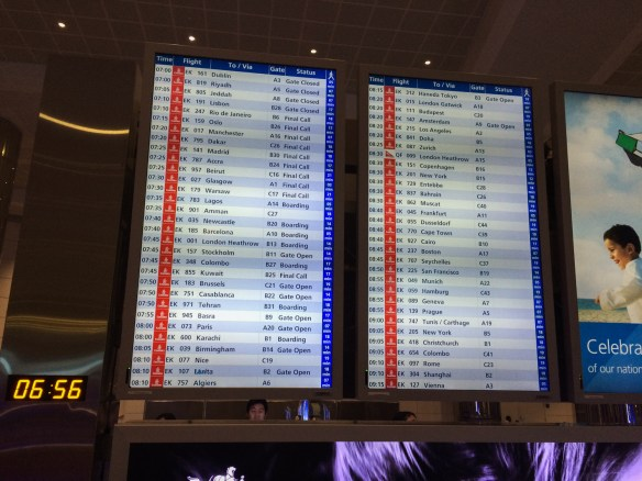 The flight reader board at Dubai International Airport gives you an idea of Dubai as a hub.