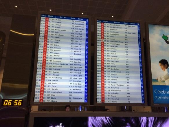 The flight reader board at Dubai International Airport gives you an idea of Dubai as a hub.