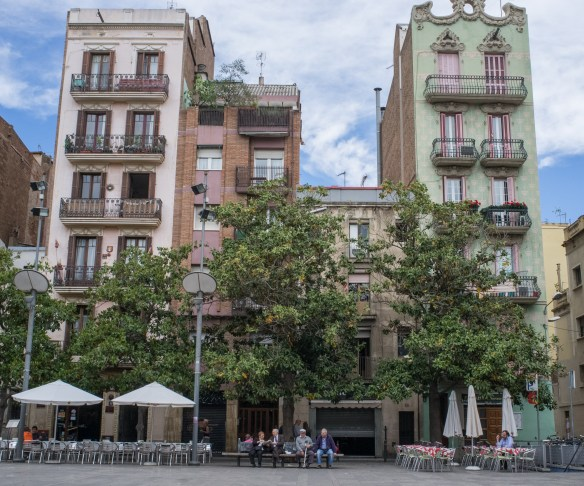 A typical square in Barcelona's Grácia neighborhood.