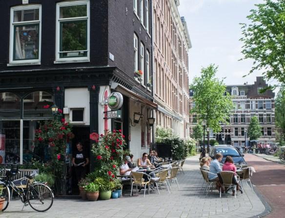 A neighborhood corner bar in Amsterdam.