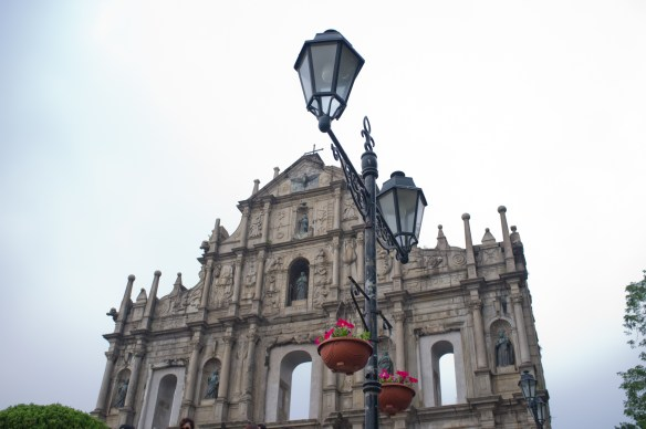 The facade of St. Paul Cathedral, built by the Portuguese between 1582 and 1602 is a very popular tourist destination in Macao.